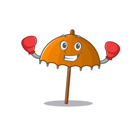 A sporty orange umbrella boxing mascot design style. Vector illustration Ilustração
