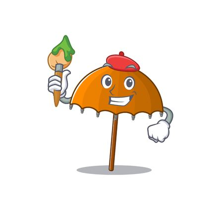 Talented orange umbrella Artist cartoon character with brush. Vector illustration