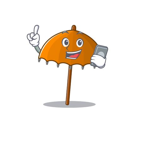 Mascot design of orange umbrella speaking on phone. Vector illustration