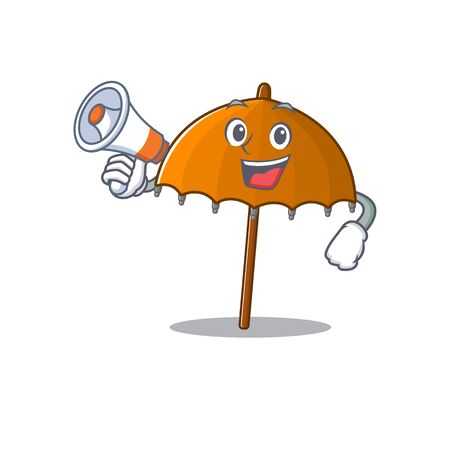 An icon of orange umbrella holding a megaphone. Vector illustration