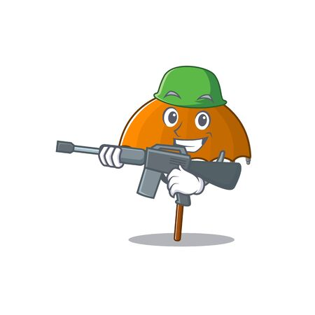 A picture of orange umbrella as an Army with machine gun Ilustração