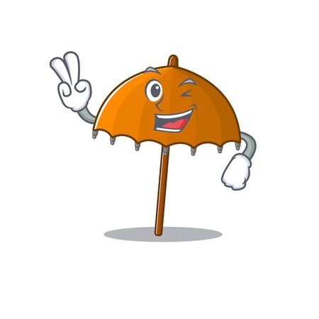 Cheerful orange umbrella mascot design with two fingers. Vector illustration Ilustração