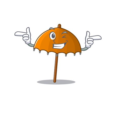 Smiley orange umbrella cartoon design style showing wink eye. Vector illustration