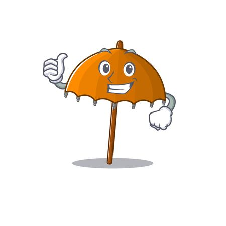 Cool orange umbrella cartoon design style making Thumbs up gesture Ilustração