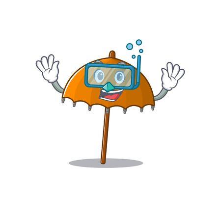 A cartoon picture featuring orange umbrella wearing Diving glasses