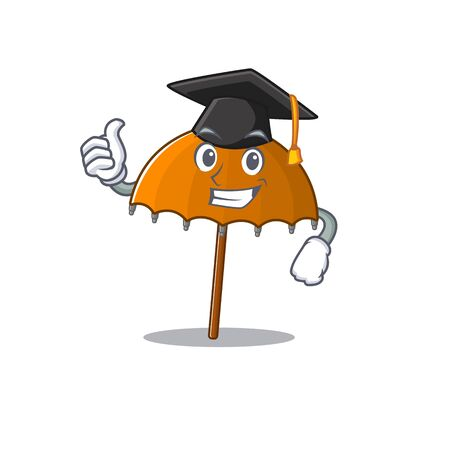 A picture of orange umbrella with black hat for graduation ceremony. Vector illustration Ilustração