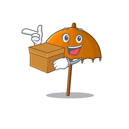 Orange umbrella cartoon design style having a box Ilustração