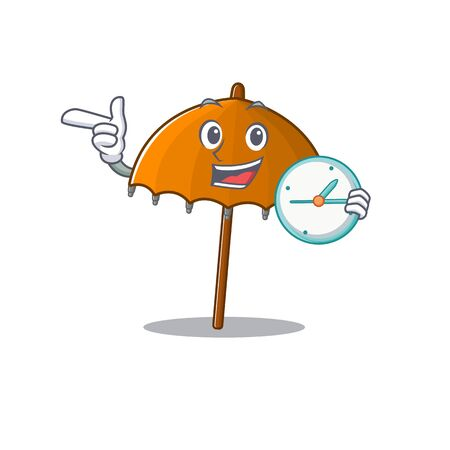 Cheerful orange umbrella cartoon character style with clock