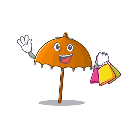 Happy rich orange umbrella mascot design waving and holding Shopping bag