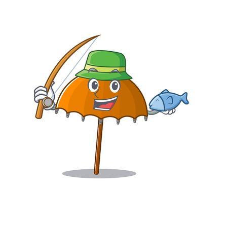 A Picture of funny Fishing orange umbrella design