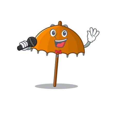 Cute orange umbrella sings a song with a microphone