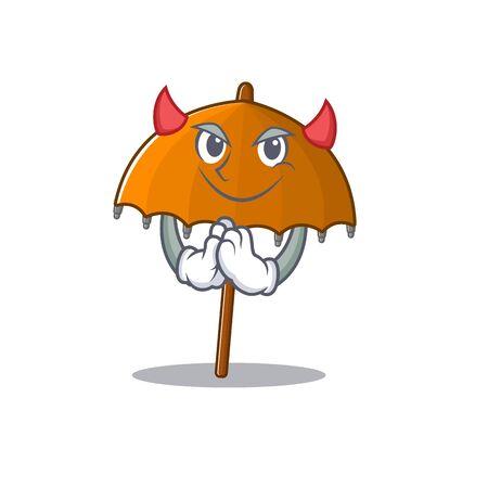 A picture of orange umbrella in devil cartoon design. Vector illustration