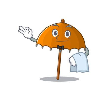 A design of orange umbrella cartoon character working as waiter. Vector illustration 向量圖像