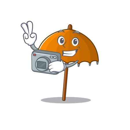 Orange umbrella mascot design as a professional photographer with a camera. Vector illustration 向量圖像
