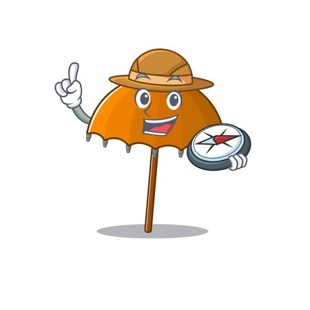 Orange umbrella an experienced explorer with a compass. Vector illustration