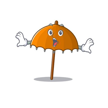 A cartoon character of orange umbrella making a surprised gesture. Vector illustration