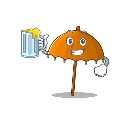 Cheerful orange umbrella mascot design with a glass of beer. Vector illustration 向量圖像