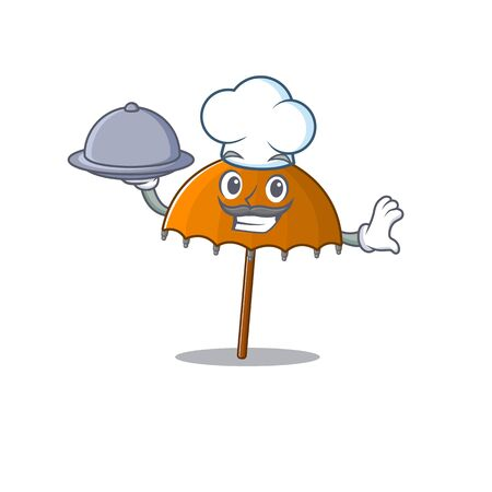 Orange umbrella as a chef cartoon character with food on tray. Vector illustration 向量圖像