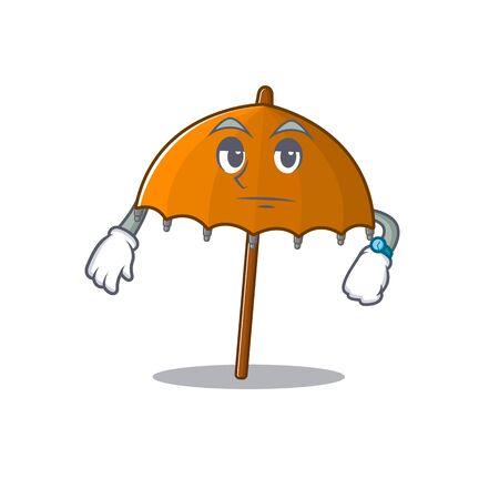 Orange umbrella on waiting gesture mascot design style. Vector illustration