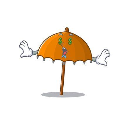 Rich orange umbrella with Money eye mascot character style. Vector illustration Vetores