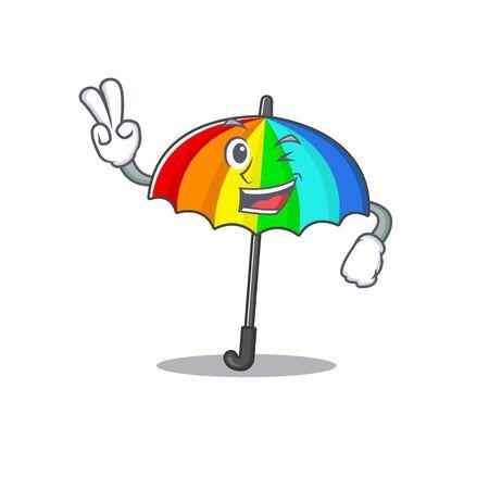Cheerful rainbow umbrella mascot design with two fingers. Vector illustration