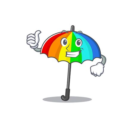 Cool rainbow umbrella cartoon design style making Thumbs up gesture. Vector illustration