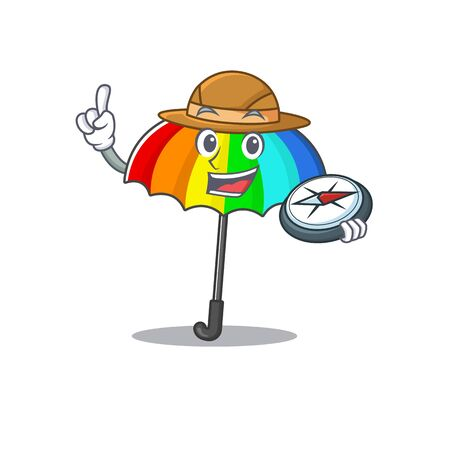 Rainbow umbrella an experienced explorer with a compass. Vector illustration