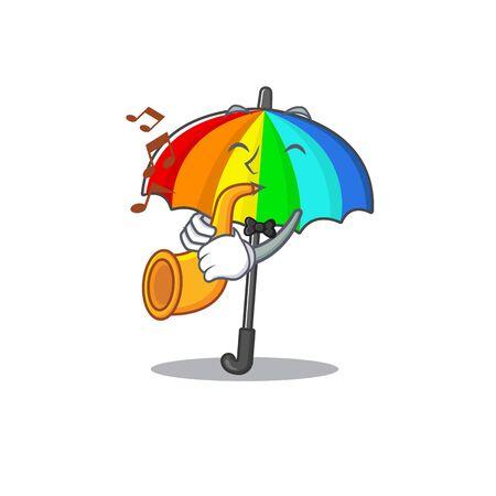 Rainbow umbrella cartoon character design playing a trumpet. Vector illustration