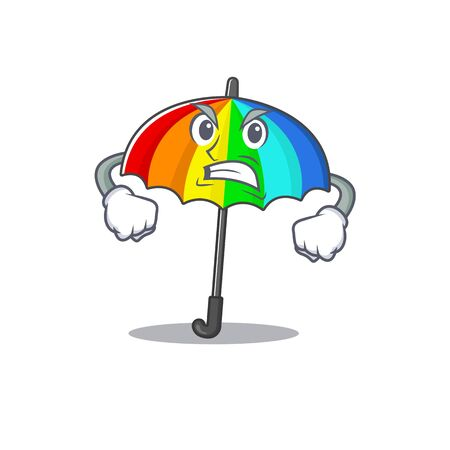 rainbow umbrella cartoon character design with angry face. Vector illustration 向量圖像