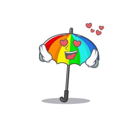 cute rainbow umbrella cartoon character showing a falling in love face. Vector illustration
