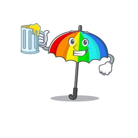 Cheerful rainbow umbrella mascot design with a glass of beer. Vector illustration