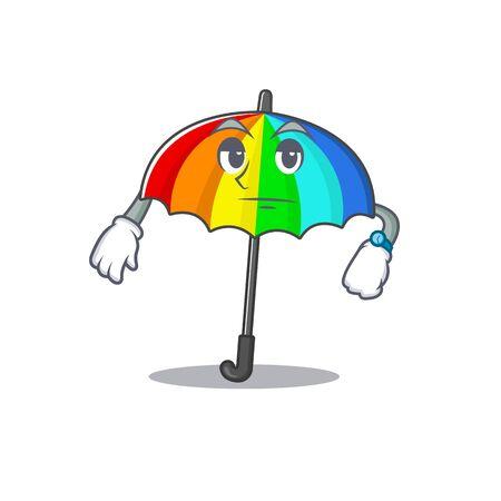 rainbow umbrella on waiting gesture mascot design style. Vector illustration Ilustração