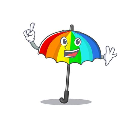 One Finger rainbow umbrella in mascot cartoon character style. Vector illustration