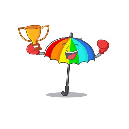 Happy face of boxing winner rainbow umbrella in mascot design style. Vector illustration 向量圖像