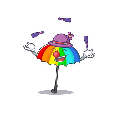 A sweet rainbow umbrella mascot cartoon style playing Juggling. Vector illustration