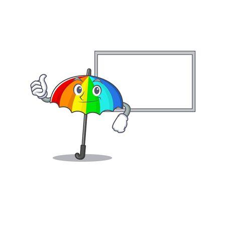 cute rainbow umbrella cartoon character Thumbs up bring a white board. Vector illustration Illustration