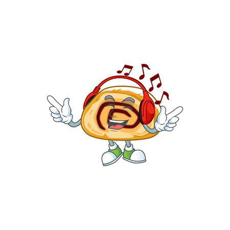 cartoon mascot design of swiss roll enjoying music