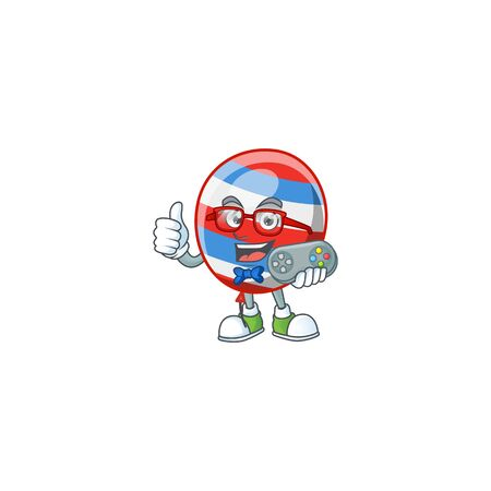 Talented independence day balloon gamer mascot design using controller. Vector illustration