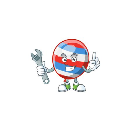 mascot design concept of independence day balloon mechanic. Vector illustration