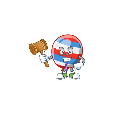 Independence day balloon wise judge cartoon character design with cute glasses