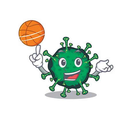 A sporty bat coronavirus cartoon mascot design playing basketball. Vector illustration