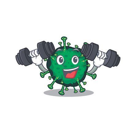 Smiley Fitness exercise bat coronavirus cartoon character raising barbells