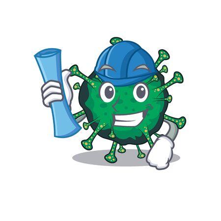 Smiling Architect of bat coronavirus having blue prints and blue helmet Vector Illustration