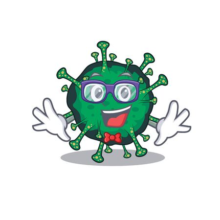 Super Funny Geek bat coronavirus cartoon character design