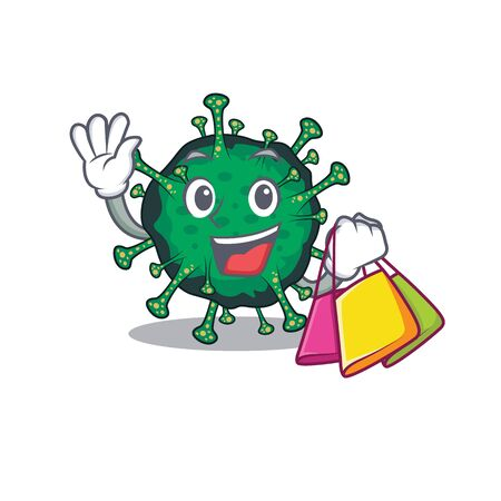 Happy rich bat coronavirus mascot design waving and holding Shopping bag