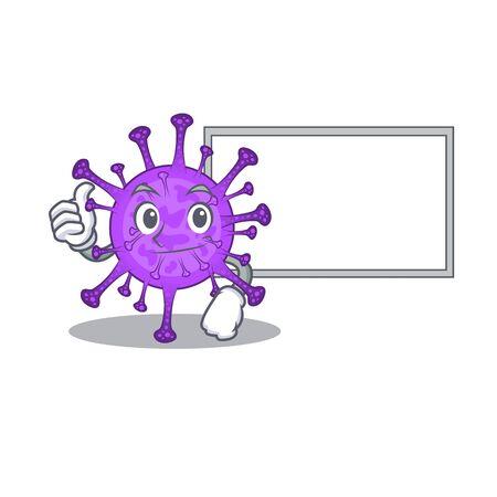 cute bovine coronavirus cartoon character Thumbs up bring a white board