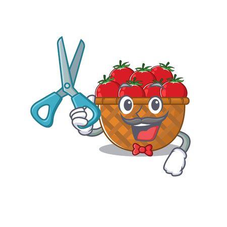 Cool Barber tomato basket mascot design style. Vector illustration