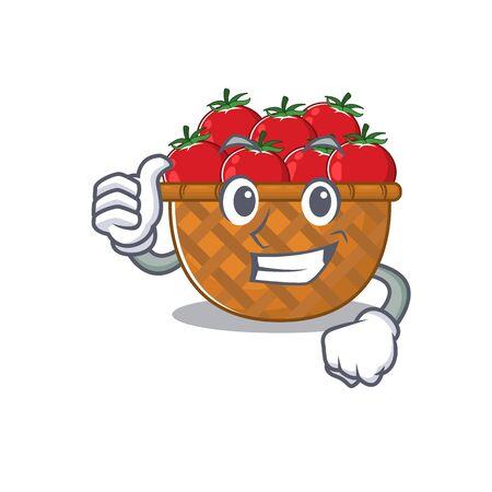 Cool tomato basket cartoon design style making Thumbs up gesture. Vector illustration