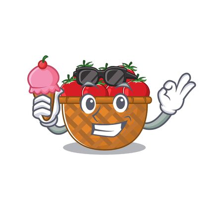 cartoon character of tomato basket holding an ice cream. Vector illustration Illusztráció