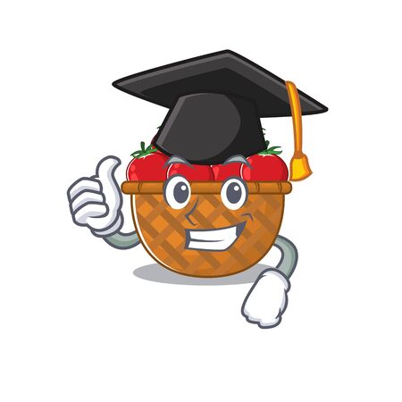 A picture of tomato basket with black hat for graduation ceremony. Vector illustration